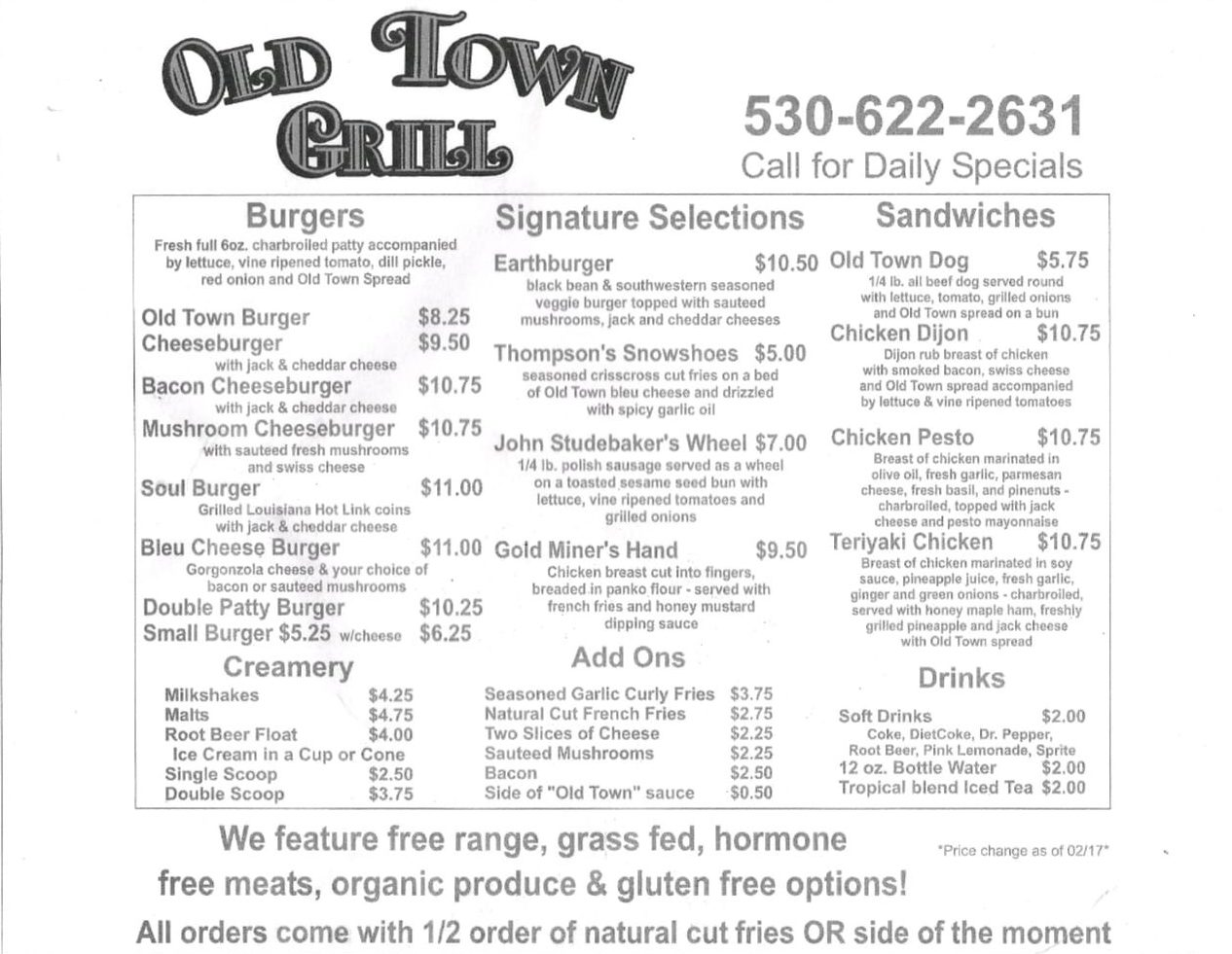 Old Town Grill menu